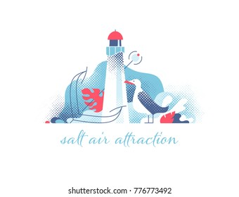 Lighthouse with seagull and anchor modern illustration. Marine and ocean theme seaside background.
