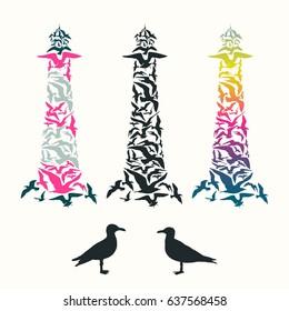 Lighthouse of seagulls. Set