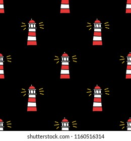 lighthouse seamless doodle pattern