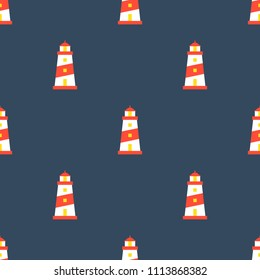 Lighthouse seamless pattern for use as wrapping paper gift or wallpaper and printing, nautical theme