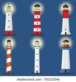 Lighthouse, Set of lighthouses, path lighting. Lighthouse shines at night. Flat design, vector illustration.
