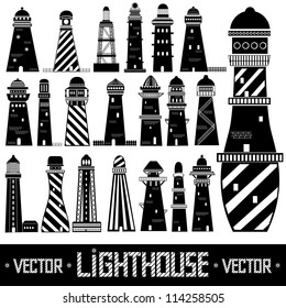 lighthouse set silhouette