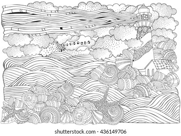 Lighthouse and shells, seascape. Coloring book page for adult. A4 size. Waves, sea, art background. Pattern for coloring book. Hand-drawn, doodle, vector, zentangle, tribal design elements.