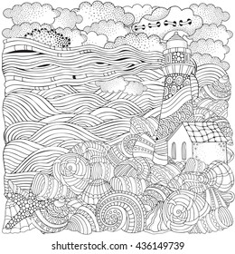 Lighthouse And Shells Seascape Coloring Book Page For Adult Waves Sea