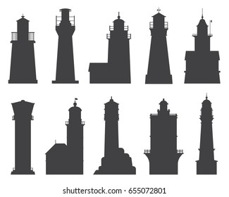 Lighthouse silhouette set. Different sea guiding light houses buildings. Sea pharos or beacon collection isolated on white background. Searchlight tower icons of various types in outline design.