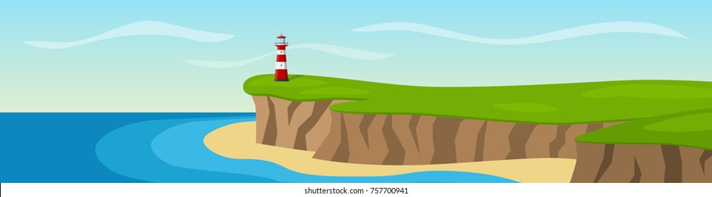 A lighthouse standing on a cliff. Panorama. Vector illustration.