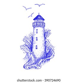 Lighthouse in the storm vector illustration, hand drawn ink engraving design. Nautical theme illustration concept.