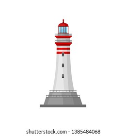 Lighthouse with stripes on the pedestal. Vector illustration.