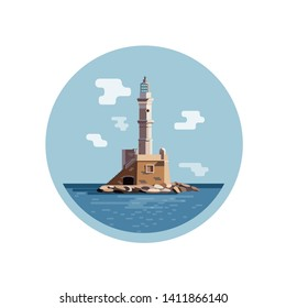 Lighthouse in sunny weather vector