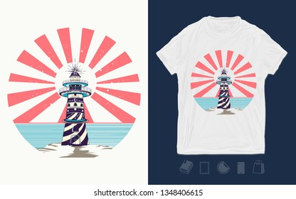 Lighthouse, symbol of meditation, hiking, adventures. Print for t-shirts and another, trendy apparel design