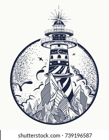 Lighthouse tattoo and t-shirt design. Beacon on the rock. Symbol of meditation, hiking, adventures graphic style
