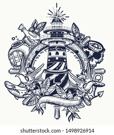 Lighthouse. Tattoo and t-shirt design. Sea adventure art. Beacon, steering wheel, shark, anchor. Old school tattooing style