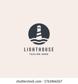 Lighthouse Tower Island logo with wave. premium vector design inspiration
