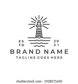 Lighthouse Tower Island with searching light. Simple Line Art logo design inspiration