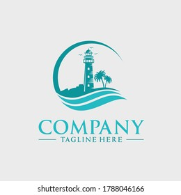 lighthouse tower logo design with rocks and waves