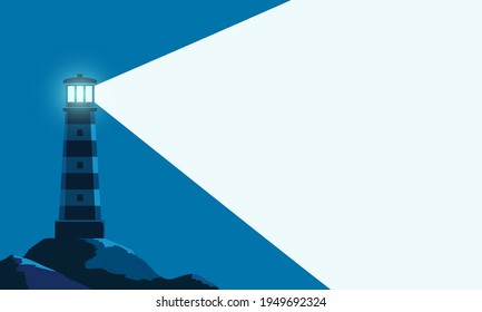 Lighthouse tower with a ray of light. Background with copy space. Vector illustration