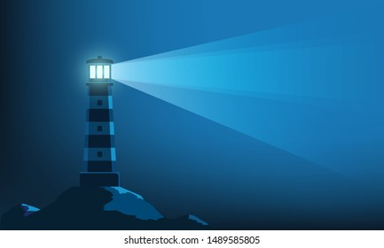 Lighthouse tower with a ray of light in the dark. Natural landscape background. Vector illustration