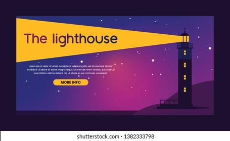 Lighthouse vector beacon lighter beaming path of lighting from seaside coast backdrop illustration lighthouses marine background banner