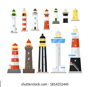 Lighthouse vector. Different kind of search tower with searchlight beam icon isolated set. Vector marine ship navigation construction sending travel sailing signal illustration. Sea pharos or beacon