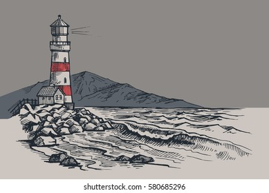 Lighthouse vector drawing, seascape and nature doodle