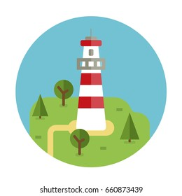 lighthouse vector flat icon travel circle island holiday Island lighthouse isolated vector flat illustration with lighthouse on the hill with boat in the sea. Different boats, house, barn isolated.