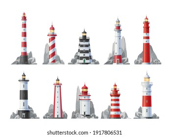 Lighthouse vector icons set of nautical towers with beacon lights. Sea coast or ocean beach rocks and lighthouse buildings with blue, red, white stripes and searchlight beams isolated symbols