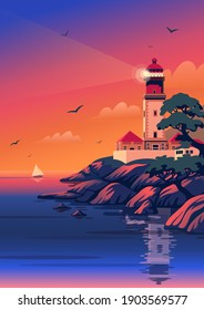 Lighthouse - vector landscape. Sea landscape with beacon on the beach at sunset. Vector illustration in flat cartoon style.