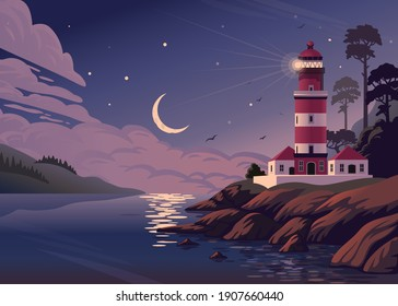 Lighthouse - vector landscape. Sea landscape with beacon on shore and crescent in clouds. Vector horizontal illustration in flat cartoon style. - Shutterstock ID 1907660440