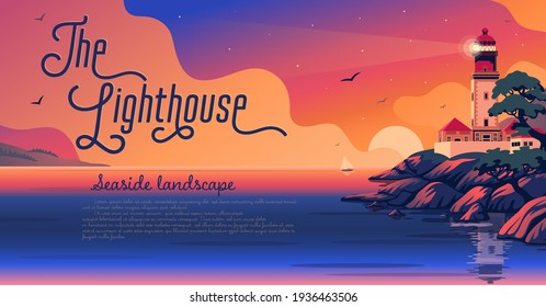 Lighthouse - vector landscape. Sea landscape with beacon on the beach at sunset. Vector horizontal illustration in flat cartoon style