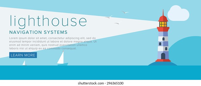 Lighthouse. Vector lighthouse with lighing beam on sea flat style. Marine navigation vintage beacon.
