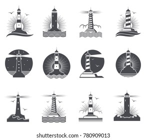 Lighthouse vector marine vintage labels. Lighthouses and ocean waves retro nautical logos set. Lighthouse and beacon building in sea illustration