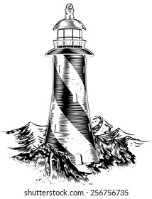 A lighthouse in a vintage lithograph style with rough waves behind