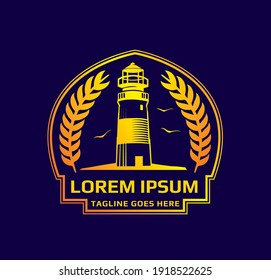 lighthouse vintage logo template. vector design