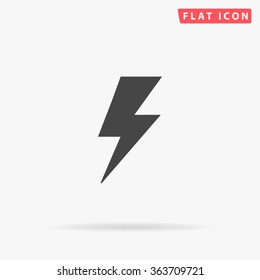 Lighting bolt Icon Vector. Simple flat symbol. Perfect Black pictogram illustration on white background.