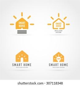 Lighting bulb shaped smart home sign icon, smart house logo vector set on white background