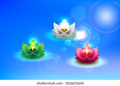 Lighting candles with bokeh background used at Loy krathong festival, Night background. Burning candles in thai style. Loi Krathong festival concept. Thai Spa Concept.