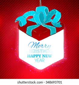 Lighting christmas gift box at red background. Holidays. Vector flat lamp.