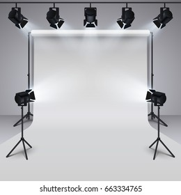 Lighting equipment and professional photography studio white blank background. 3d vector illustration. Studio for photography with light equipment