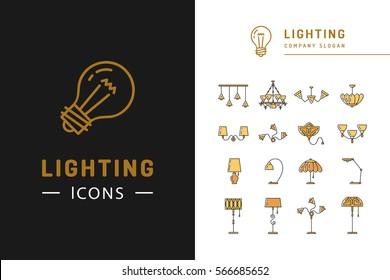 Lighting Icon Set Lamps Symbols Line Stock Vector Royalty Free