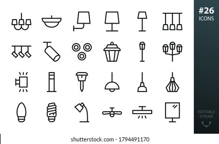 Lighting and Lamps icons set. Set of chandelier, ceiling light, track spotlight, garden lantern, solar solar garden light, ceiling fan, desk lamp, metal loft pendant, torchere vector isolated icon