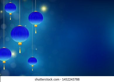 Lighting lanterns on the left side. Hanging lampions with golden decorations. Dark blue background with bokeh and sparkle. Vector illustration, eps 10.
