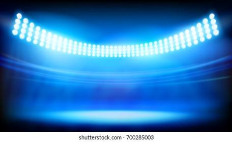 The lighting on big stadium. Vector illustration.