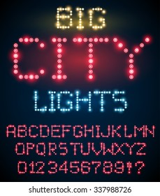 Lighting signs alphabet, letter set from red  light bulbs. Vector font