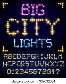 Lighting signs alphabet, letter set from yellow  light bulbs. Vector font