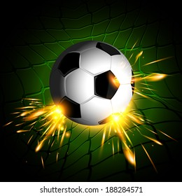 Lighting soccer ball on net with dark green background