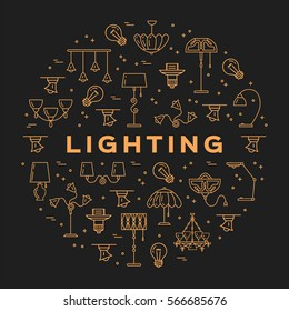 Lighting store circle infographics Lamp icon flat design card. Thin line symbols: lamps, lighting, lamp shades and light fixtures. Vector illustration
