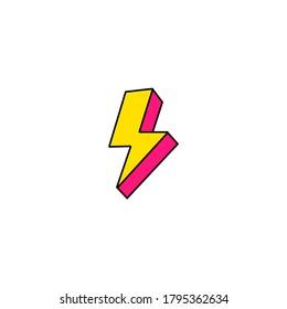 Lightning 3d sign icon. Vector illustration eps 10