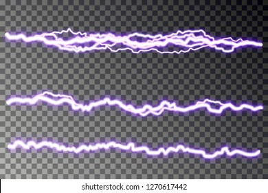 Lightning blast vector isolated on checkered background. Electric discharge. Thunderbolt or lightning visual transparent effect. Energy blast plasma, spark line. Vector illustration.