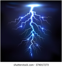 Lightning of blue with a black background.Vector