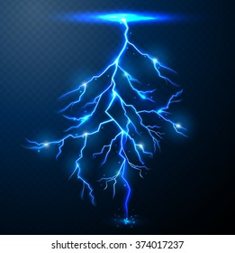 Lightning of blue on black background with transparency for design.Vector